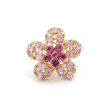 Gold Brooch Flower With Pink D...