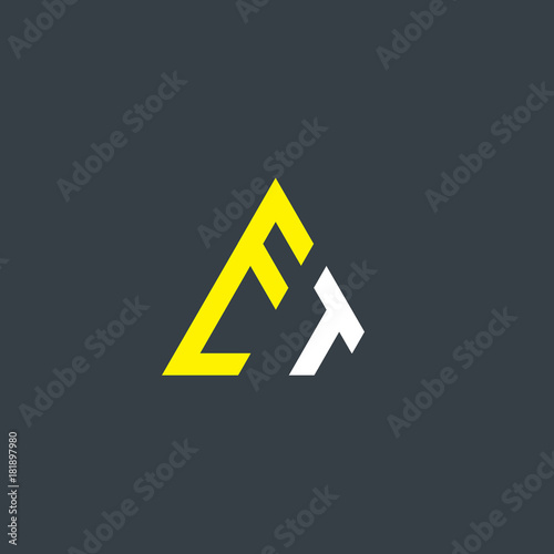 Photo  Initial Letter ET Linked Triangle Design Logo