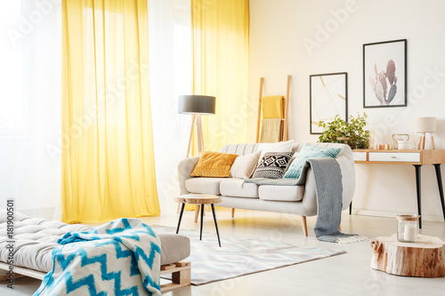 Fotografie, Obraz Living room with yellow curtains