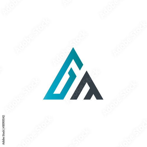 Photo  Initial Letter GM Linked Triangle Design Logo