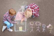 Little Children Drawing House ...
