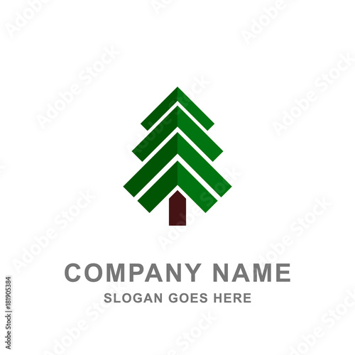 Obraz Christmas Pine Tree Logo Vector Icon - fototapety do salonu