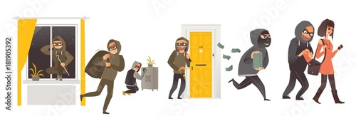 Fotografía  Set of thief in mask breaking into house, safe burglary, picklock, pickpocket, escaping with a loot, flat comic vector illustration isolated on white background