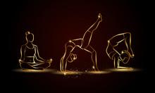 Yoga Poses Set. Golden Linear ...