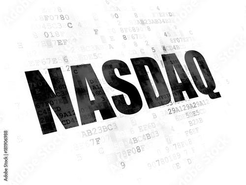 Obraz na plátně Stock market indexes concept: Pixelated black text NASDAQ on Digital background