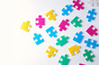 canvas print picture - Different puzzles on white background. Concept of autism