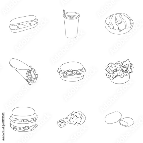 Chicken Food Snack And Other Web Icon In Outline Stylenut