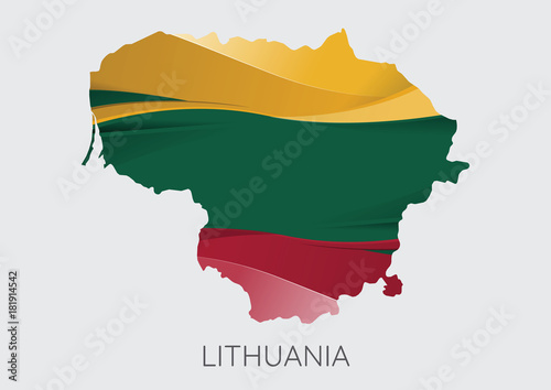 Map of Lithuania Wallpaper Mural