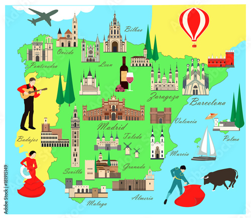 Map Of Spain For Tourists.Spain Travel Map With Sights Flat Style Vector Illustration Popular