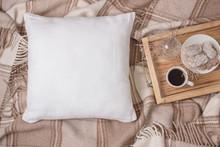 White Linen Pillow, Cushion Mockup On Plaid. Inrerior Photo