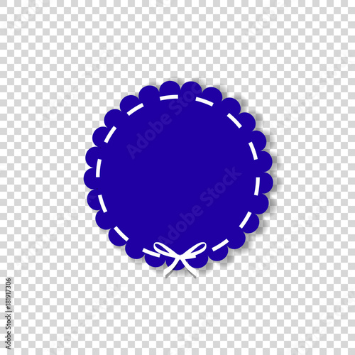 Dark blue circle stamp with white ribbon. Canvas Print