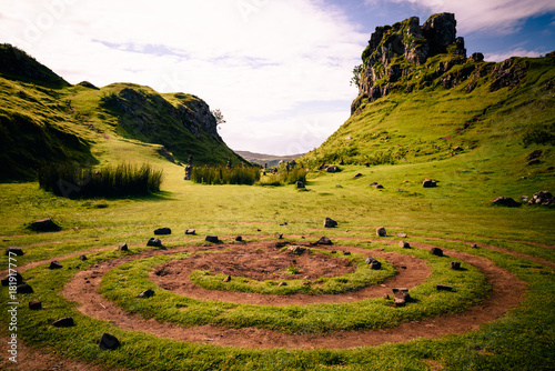 Photo  The magic spiral at the center of the Mystic Fairy Glen in the Isle of Skye, Sco