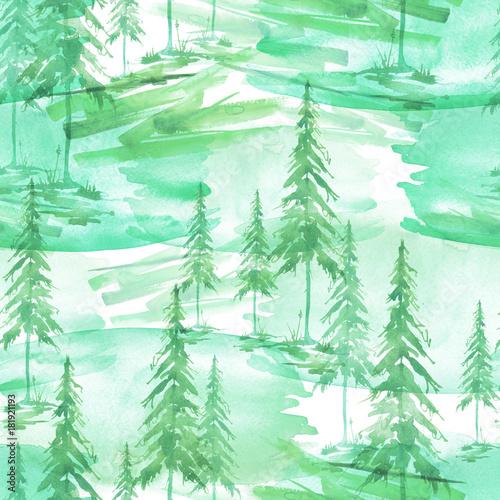jednolite-wzor-akwarela-tlo-zielony-swierk-sosna-cedr-modrzew-abstrakcyjny-las-sylwetka-drzew