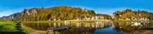 Wunderschönes Panorama Von Rathen Und Das Elbsandsteingebirge