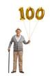 Leinwanddruck Bild - Mature man holding a golden number hundred balloon and a cane