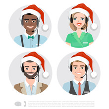 Call Center Operator Icons. Ve...