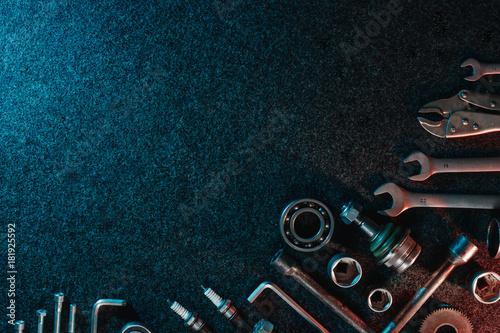 Bearings, wrenches, bolts on a dark background Canvas Print