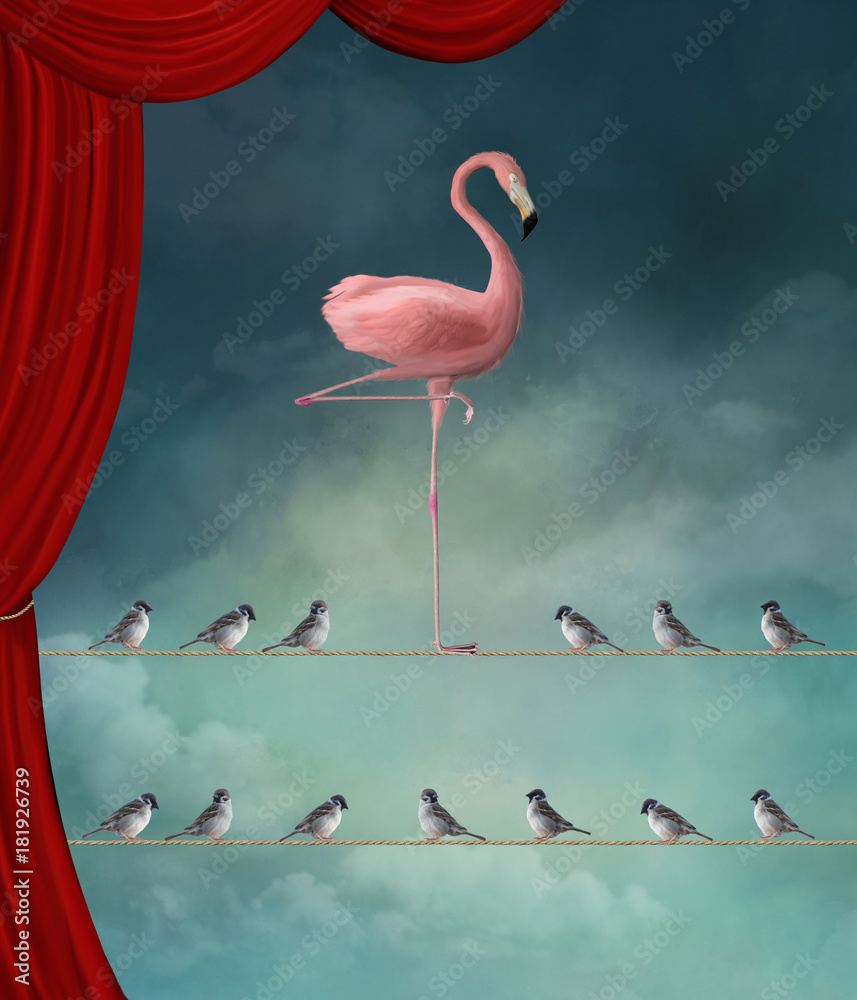 Fototapety, obrazy: Stand out from the crowd - Flamingo nd sparrows in a surreal stage