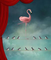 Fototapeta Romantyczny Stand out from the crowd - Flamingo nd sparrows in a surreal stage