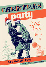 Christmas Retro Party Poster Template. Private Dancers. Music Gramophone, Fir-tree, Stars. Vintage Vector Lineart Engraving Style. Art Deco Gatsby Epoch 1920's 1930's And 1940's Style