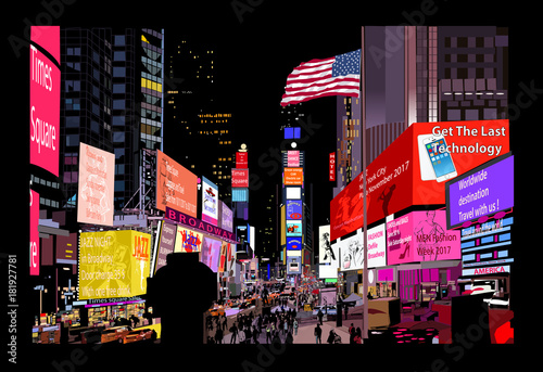Autocollant pour porte Art Studio Times Square at night
