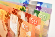 Canadian Banknotes On White B...