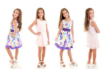 Collection Of Photos Adorable Smiling Little Girl Child In Princess Dress Isolated
