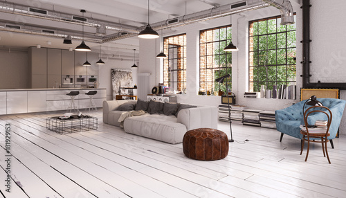 modern vintage industrial Loft Apartment - moderne Loft ...