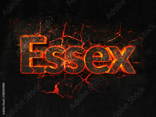 Photo  Essex Fire text flame burning hot lava explosion background.