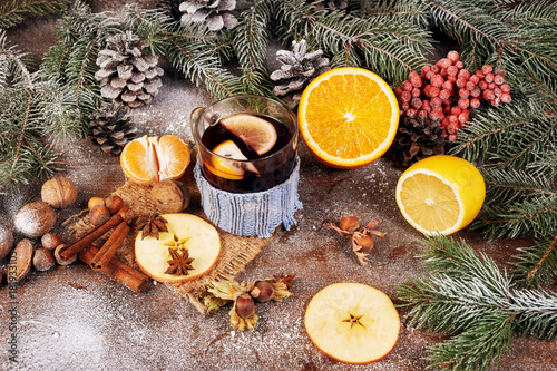 Christmas mulled wine and spices. Christmas background. Merry Christmas