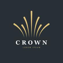 Crown Fireworks Logo Design. Creative Abstract Logo Vector Template.