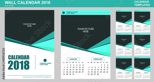 Vector Design Of Wall Calendar Template For 2018 With Place For Your