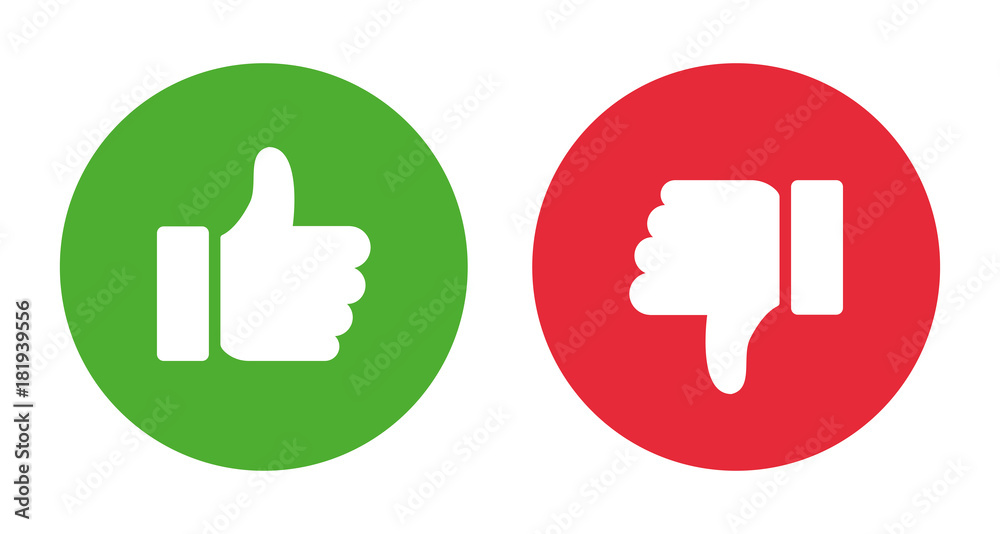 Fototapety, obrazy: Thumbs up and thumbs down.Stock vector