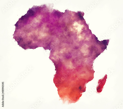 Africa watercolor map in front of a white background