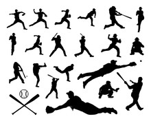 Set Collections Silhouette Black Player Baseball
