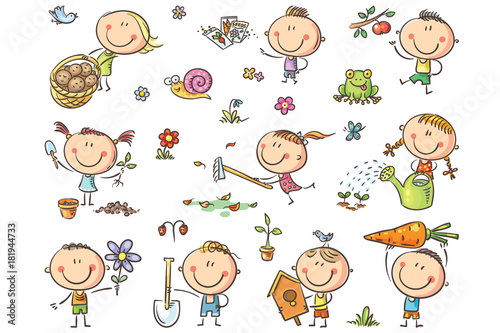 Doodle kids in the garden, watering, planting and gathering harvest Tapéta, Fotótapéta