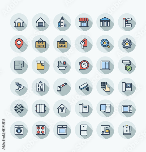 Apartments Agency: Vector Flat Thin Line Icons Set, Graphic Design Elements