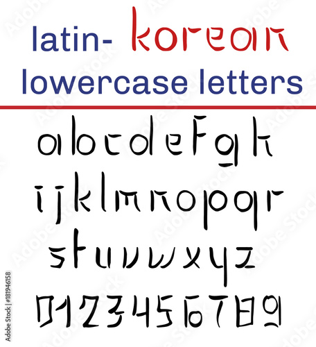 Korean style latin alphabet  Lowercase letters and digits  Hand