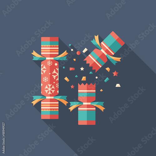 Christmas cracker flat square icon with long shadows. Tapéta, Fotótapéta