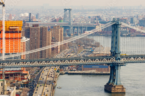 Manhattan and Williamsburg Bridges in New York, USA