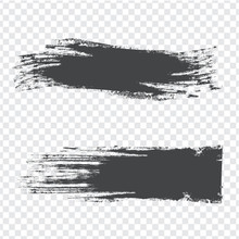 Abstract Brush Strokes Dark Gray Texture On Transparent Background. Isolated Strokes With Dry Rough Edges. Flat Design. Vector Illustration EPS10.