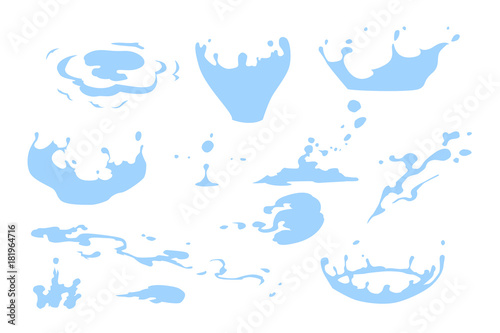 Photo Set of water splash clipart, water drops and crown from falling into the water,