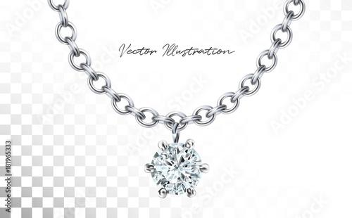 Fototapeta Silver necklace with diamond