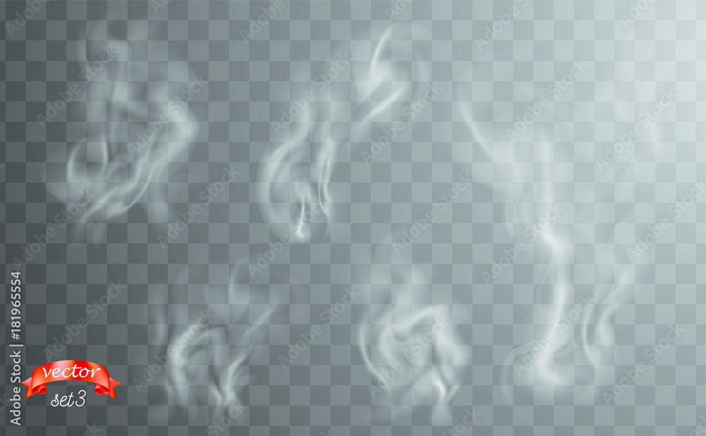 Fototapety, obrazy: White cigarette smoke waves. White hot steam over cup for dark and transparent background. Set of fume on food, tea and coffee. Magic vapor, mist, cloud, gas or fog vector illustration. Hazy fragrance