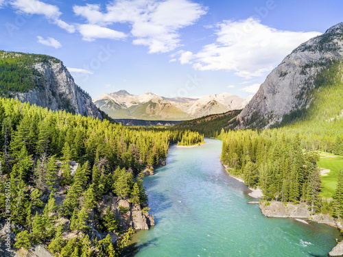 Riviere Aerial view of Bow river in Rockies Mountains, Banff National Park, Alberta, Canada