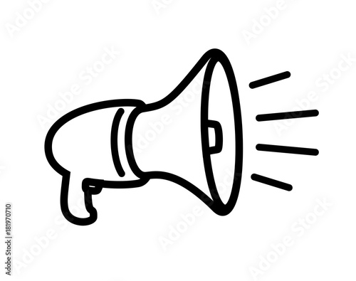 Fényképezés  Megaphone on a white background. Vector illustration.