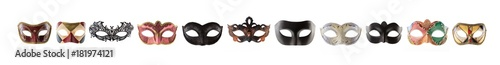 Tuinposter Carnaval Carnival masks collage isolated on white background