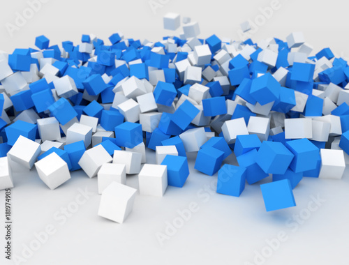 Falling blue and white cubes in a big pile