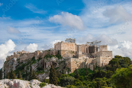 Poster Athens A picturesque cloudy scenery of Acropolis sacred hill in Athens, Greece