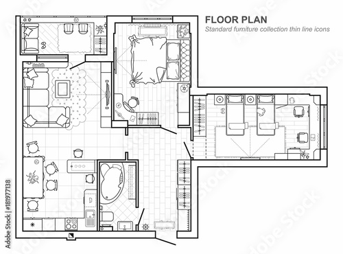 Floor plan with furniture in top view. Architectural set of ...